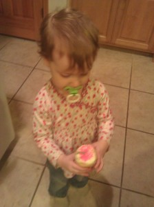 Chanel Holding Her Cupcake